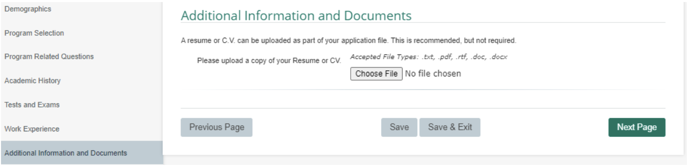 screenshot showing resume/CV upload